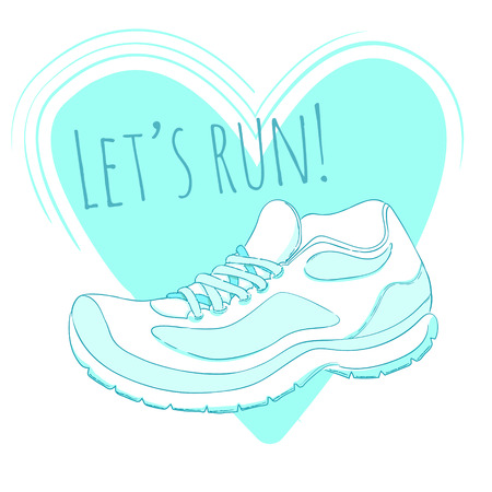 running shoe: Sport poster with running shoe illustration and text lets run Illustration