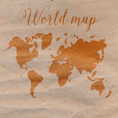 craft paper: World map hand drawn on brown craft paper.