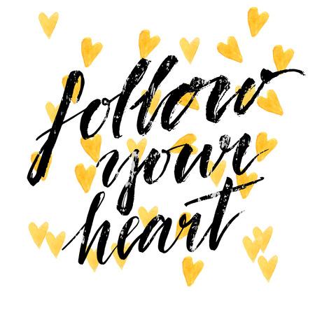 Follow your heart - modern calligraphy phrase handwritten on watercolor golden hearts background. Vector card design