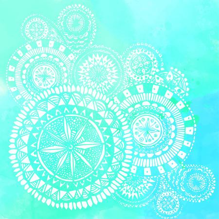 Blue watercolor brush strokes with white hand drawn mandalas - round doodle Indian elements. Vector summer design. Ilustração