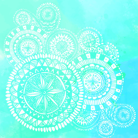 Blue watercolor brush strokes with white hand drawn mandalas - round doodle Indian elements. Vector summer design. Illustration