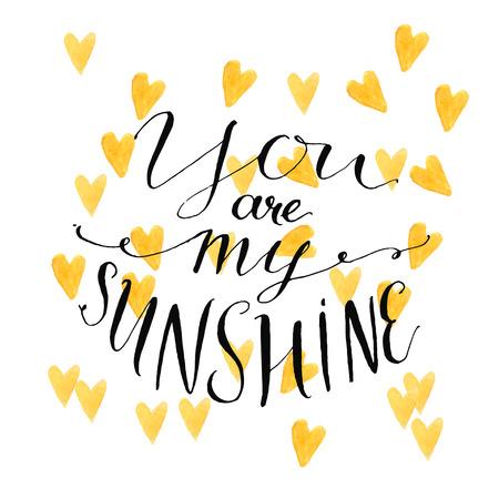sol radiante: Fondo amarillo de los corazones de la acuarela con la cita de la caligrafía moderna tu eres mi sol. Diseño del vector para tarjetas