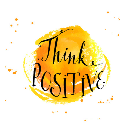 Modern calligraphy inspirational quote - think positive - at yellow watercolor background Çizim