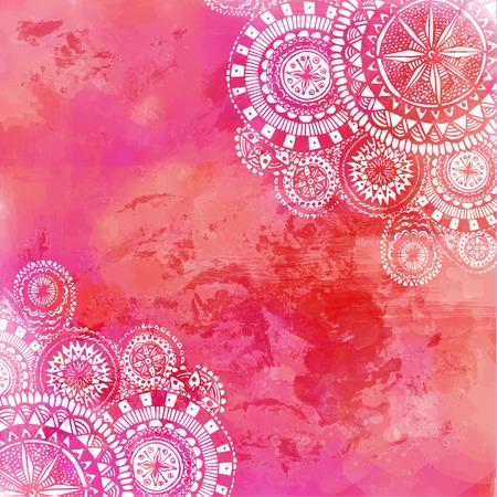 白い手でピンク色の水彩絵の具の背景には、ラウンドのいたずら書きやマンダラが描画されます。背景のベクトル デザイン。