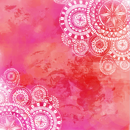 mandalas: Pink watercolor paint background with white hand drawn round doodles and mandalas. Vector design of backdrop.