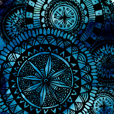 watercolor brush: Blue watercolor brush strokes with black hand drawn mandalas - round doodle tribal elements. Vector ethnic design. Illustration