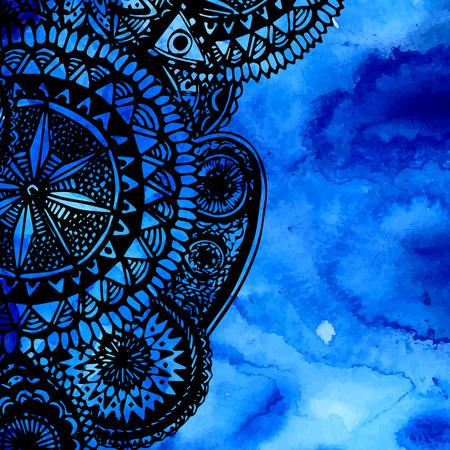 black blue: Blue watercolor brush strokes with black hand drawn mandalas - round doodle tribal elements. Vector ethnic design. Illustration