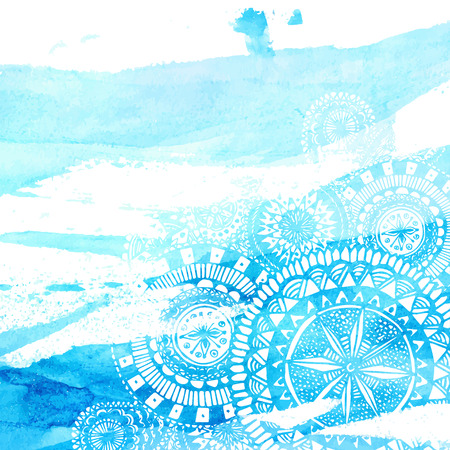Blue watercolor brush strokes with white hand drawn mandalas - round doodle Indian elements. Vector summer design. Stock Illustratie
