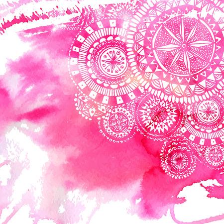 Pink background de peinture d'aquarelle avec des blancs griffonnages et mandalas rondes dessinés à la main. Vector design de toile de fond.
