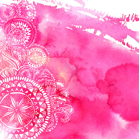 Pink watercolor paint background with white hand drawn round doodles and mandalas. Vector design of backdrop.