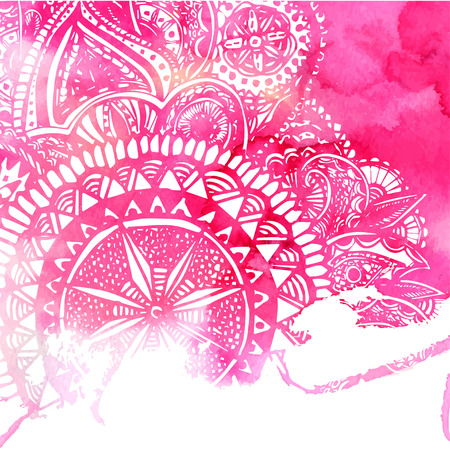 backdrop design: Pink watercolor paint background with white hand drawn round doodles and mandalas. Vector design of backdrop.