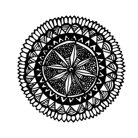 meditation isolated white: Hand drawn round mandala symbol. Ornate vector black design element isolated on white background. Illustration