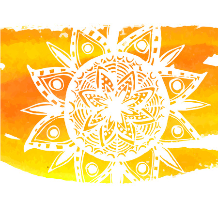 White mandala on yellow watercolor stroke. Symbol of home and comfort. Tribal indian vector background.