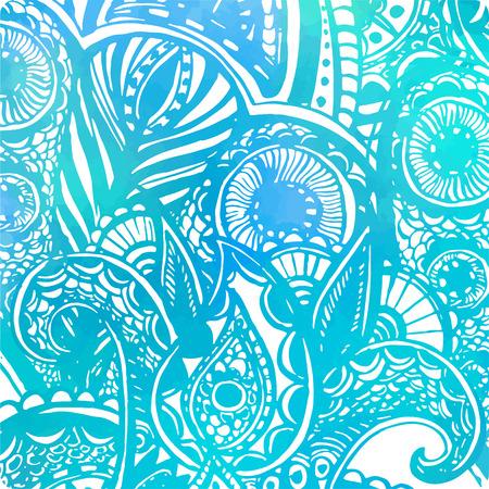水彩テクスチャと落書き波抽象ベクトル青背景