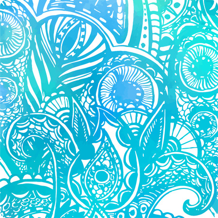 Abstract vector blue background with watercolor texture and doodle waves