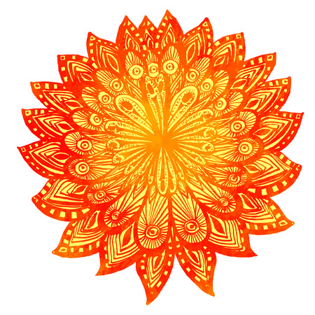 indian summer: Hand drawn watercolor doodle orange flower. Indian mandala, symbol of luck and happiness. Vector design element.