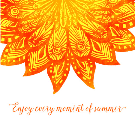 fire flower: Template with orange doodle fire flower. Tribal design with text enjoy every moment of summer Illustration