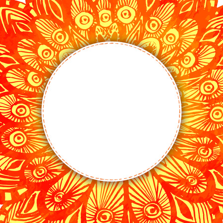 orange abstract: Orange watercolor background with hand drawn feathers and abstract doodles. Blank vector round frame with copyspace.