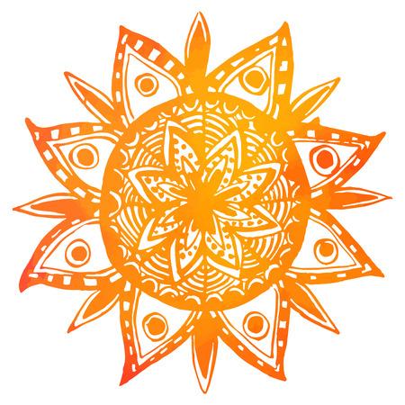 손으로 그린 오렌지 수채화 부족의 태양입니다. 벡터 인도의 만다라, 디자인 요소입니다.