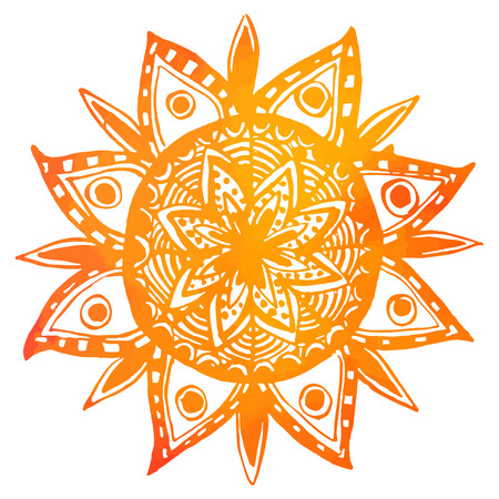 Hand drawn orange watercolor tribal sun. Vector indian mandala, design element. Ilustração