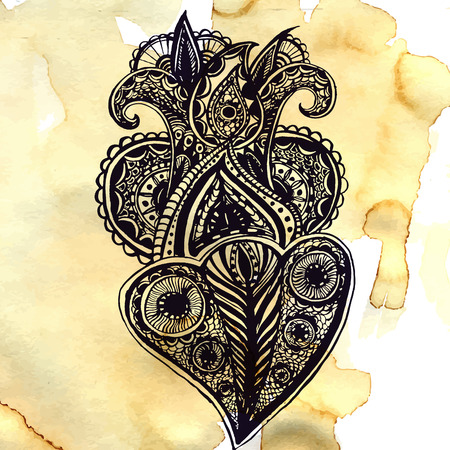 ornate swirls: Ethnic design element on brown paper with spots and stains of coffee. Ornate tribal doodle with swirls and tangles. Illustration