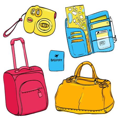 foto carnet: Conjunto de ilustraciones de viaje: bolso de la carretilla de color rosa, pasaporte, billetera azul organizador con entradas y mapa, c�mara de fotos compacta. Dibujado a mano garabatos aislados sobre fondo blanco.