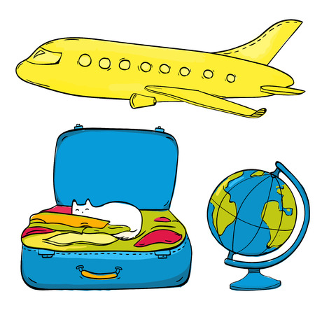 voyage: Set of travel illustrations: yellow airplane, earth globe and open suitcase with clothes and cat. Hand drawn doodles isolated on white background.