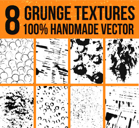 splotches: Collection of 8 vector ink textures. Backgrounds for real artistic and handmade look. Grunge and messy splotches, stains and sprays. Illustration