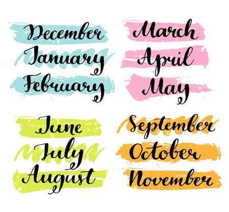 meses del año: Manuscrito meses del año. Palabras de la caligrafía para calendarios y organizadores Vectores