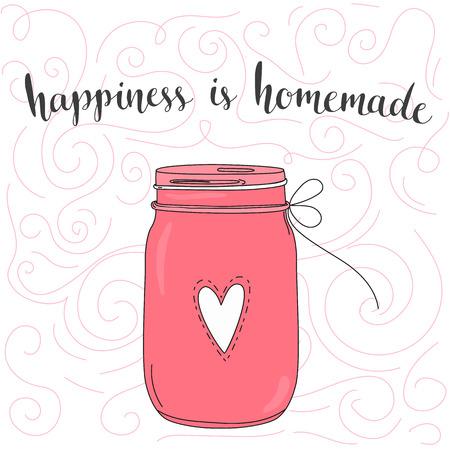 alegria: La felicidad es hecha en casa. cita inspiradora, el arte de la tipografía. Fase del vector en el frasco de color rosa. Letras para carteles, tarjetas de diseño. Vectores