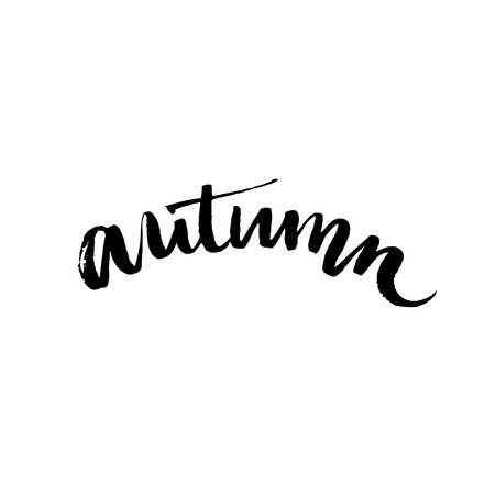 word: Handwritten word autumn. Black ink calligraphy word isolated on white background. Vector typography design for cards, t-shirt, posters and social media content.