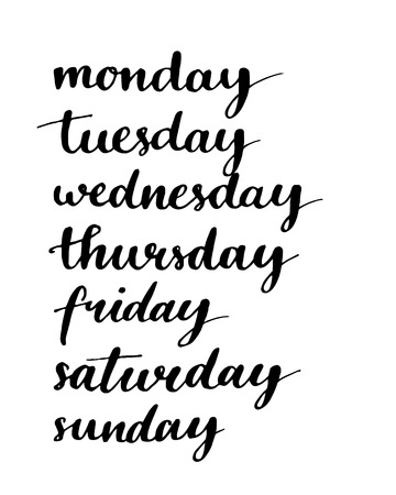 Manuscrit jours de la semaine. Encre noire mots de calligraphie isolé sur fond blanc.