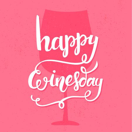 cotizacion: Winesday feliz. Manuscrita Cita inspirada con caligrafía del cepillo en el fondo de color rosa. Vector diseño de la tipografía para las tarjetas, camiseta, bar carteles y contenido de los medios sociales.