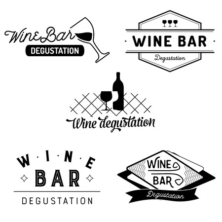 heading: Set of typography wine bar and degustation badges with glasses and bottles. Vector labels isolated on white background. Illustration