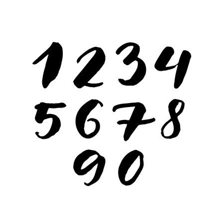 5 0: Black handwritten numbers 1, 2, 3, 4, 5, 6, 7, 8, 9, 0. Freehand set of vector characters isolated on white background.