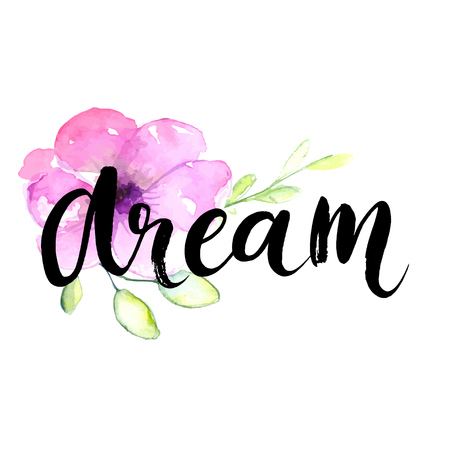 inspiration: Dream - inspirational word at pastel violet background, typography for poster, t-shirt or card. Vector modern brush calligraphy art.