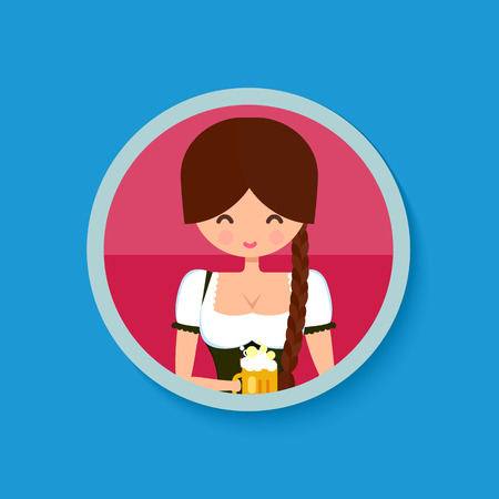 german girl: Oktoberfest girl in traditional german costume dress dirndl, holding a glass of beer. Circle flat banner. Cute character vector illustration.