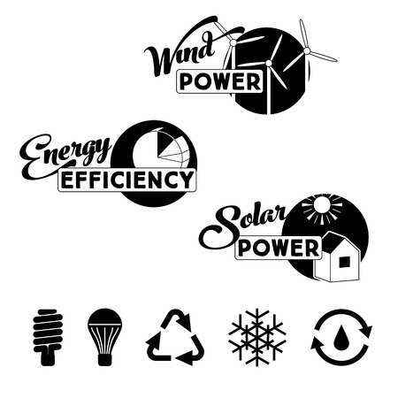 reusable: Alternative energy labels and badges: solar power, wind power turbines, energy efficiency. Vector eco icons: energy saving lamb and bulb, reusable sign and conditioning snowflake. Illustration