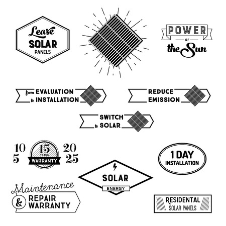 panels: Solar power labels and badges for landing padges and promo. Vector illustrations of solar panels, signs of  repair warranty, lease of panels. Black and white.