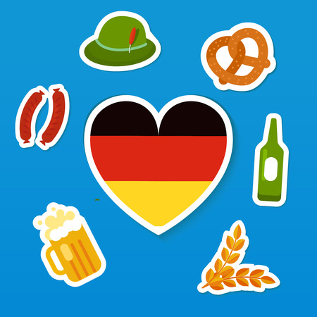 spikes: Set of symbols of Oktoberfest - traditional festival of beer. Flag of Germany in heart shape, bottle and glass of beer, spikes, green heat with feather, brezel and sausages. Flat vector stickers Illustration