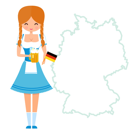 near beer: Mascot girl with pigtails in traditional bavarian dress holding glass of beer and german flag. Character standing near Germany map with copy space.