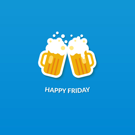 Happy friday card with two clang glasses of beer at blue background. Flat vector illustration. Çizim