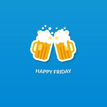 Tarjeta Viernes feliz con dos vasos clang de cerveza en fondo azul. Ilustración vectorial Flat. Vectores