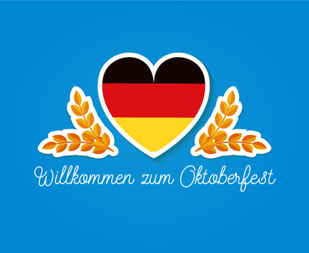 bavarian culture: Germany flag in heart shape with two slikes and german text: Wilkommen zum Oktoberfest - welcome to Octoberfest. Flat vector illustration for beer festival.