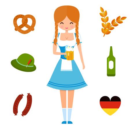 bretzel: Oktoberfest girl in traditional german dress and symbols of festival: beer, sausages, brezel an green hat. Set of flat vector illustrations.