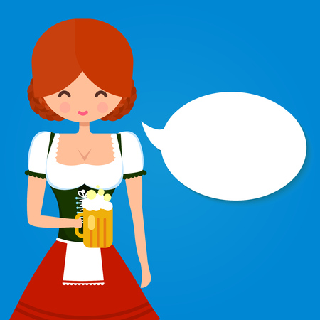 speech bubble vector: Young girl in traditional german dress dirndl holding glass of beer. Blank speech bubble. Vector flat character illustration for Oktoberfest and beer bars design. Illustration