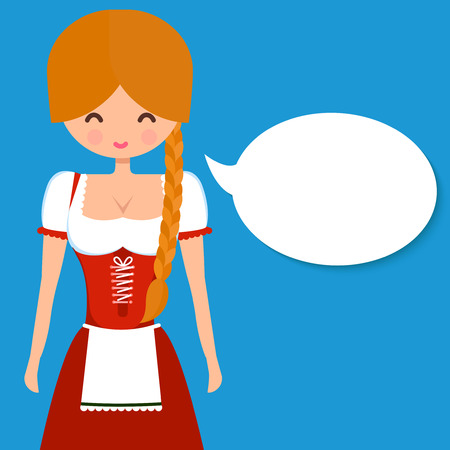Cute blonde girl in traditional german dress dirndl with pigtail and blank speech bubble. Vector flat character illustration for Oktoberfest and beer bars design. Illustration