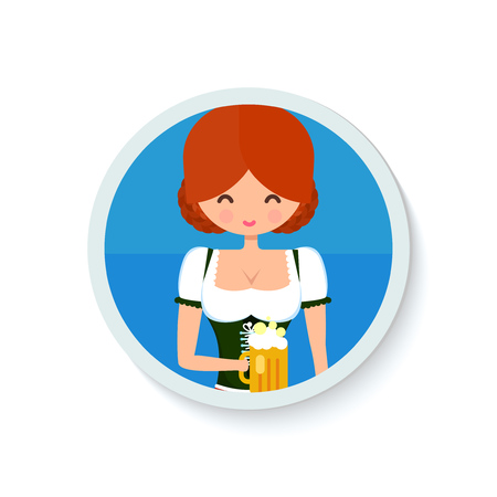 german girl: German girl circle avatar portrait. Blonde girl in traditional dress with beer. Flat octoberfest character vector illustration.
