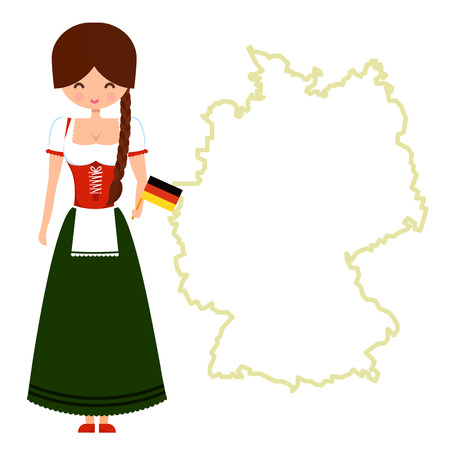 bavarian girl: Young girl with pigtail in traditional bavarian dress holding glass of beer and german flag. Character standing near Germany map with copy space.