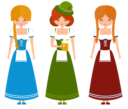 oktoberfest background: German girls in traditional bavarian dress with beer and flag. Oktoberfest cute vector character illustration. Illustration